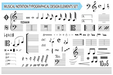Musical Notation, Notes, Music Symbols And Signs, Set. Templates, Black Editable Elements Collection, Isolated On White Background. Melody Font. Vector Illustration.