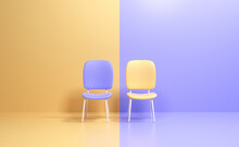 Two Chairs With Different Colors. Business Competition. Know Your Competitor Concept, Business Leadership. 3d Render Illustraiton