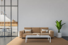 White And Beige Seating Area With A Sofa