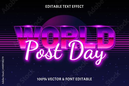 Fotografie, Obraz World post day editable text effect retro style