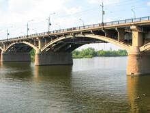 Bridge Over The Yenisei River In City Of Krasnoyarsk. Communal Bridge