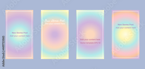 Photo Social media stories template background - rainbow pastel soft gradient aura, or