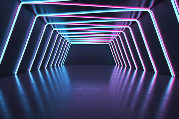 Dark futuristic interior with neon lights. Design concept. 3D Rendering.