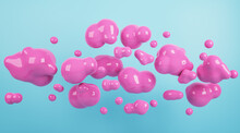 Abstract Pink Bubbles On Blue Wall Background. Design And Exhibition Concept. 3D Rendering.