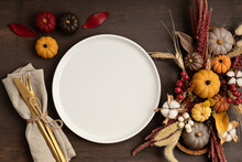 Rustic Menu Mockup With Plate And Autumn Table Decoration.  Floral Interior Decor For Fall Holidays With Handmade Pumpkins. Holiday Dinner Concept. Flatlay, Top View.