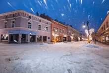 Poland, Subcarpathia, Rzeszow, Old Town At Dusk In Winter