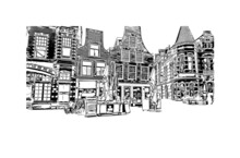 Building View With Landmark Of Haarlem Is The  City In The Netherlands. Hand Drawn Sketch Illustration In Vector.