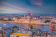 Budapest city skyline, cityscape of Hungary at sunset