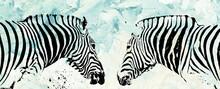 Portrait Of Two Zebras In Mixed Media