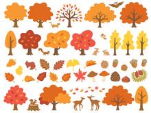 紅葉した木と森の動物達のイラストセット