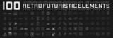 Fototapeta Perspektywa 3d - Set of retrofuturistic design elements. Perspective grids, tunnels, RETRO title, polar grid, geometry, portals, gravity visualization. Pack of cyberpunk 80s style design elements. Vector