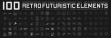 Set Of Retrofuturistic Design Elements. Perspective Grids, Tunnels, RETRO Title, Polar Grid, Geometry, Portals, Gravity Visualization. Pack Of Cyberpunk 80s Style Design Elements. Vector