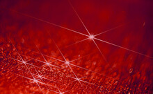 Dew Drops On Red Surface
