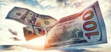 Money 100$ Dollar Bills Flying On Sky