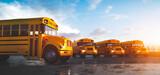 Fototapeta Kawa jest smaczna - Yellow school bus fleet on parking