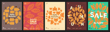Autumn. A Set Of Simple Flat Vector Illustrations. Background Patterns Hello Autumn, Autumn Sale, Seasons. Perfect Background For Banner, Poster, Flyer, Cover.