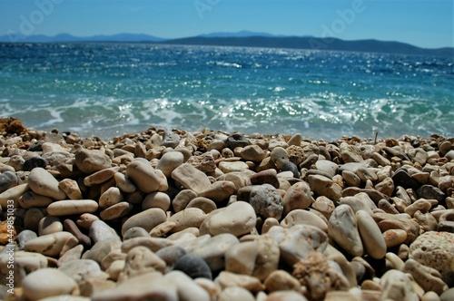 plaża, kamienie, woda