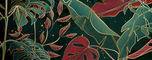 Floral Patterns In Red And Gold Metallic Colors On Backgrounds For Home Decor And Banners.