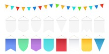 Realistic Hanging Flags. White Pennant Mockup, Festival Party Flag Banners. Isolated Anniversary Or Ad Decorations Vector Collection