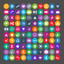 100 Universal Icons. Simplus Series. Each Icon Is A Single Object Compound Path