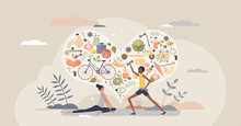 Healthy Habits Lifestyle As Diet Eating And Active Sport Tiny Person Concept. Exercises For Good Shape And Balanced Meals For Body Wellbeing And Vitality Vector Illustration. Daily Sport Routine.