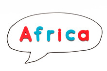 Alphabet Letter With Word Africa In Black Line Hand Drawing As Bubble Speech On White Board Background