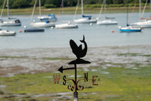Whale Weathervane An Instrument Used For Showing The Direction Of The Wind With A Blurred Background Of Boats And Water