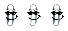 Metal Paper Clips On Transparent Background With Happy Smile Face. Cartoon Drawing Office Paperclips. Paper Clip Icon Or Pictogram. Attached, Attach Document Or File. Business Concept. Stickman.