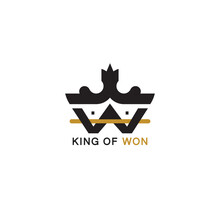 Crown Logo With Letter W. King Of Won Logo, Combination Of Crown, W Letter And House Shape Unite In One Isolated On White Background. Design Vector Illustration.