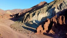 Aerial View Of Stone Formation In Rainbow Valley ,Valle Del Arcoiris, At The Atacama Desert, Chile.