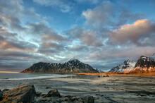 Skagsanden Beach Landscape, Flakstad, Lofoten, Nordland, Norway