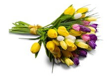 Spring Flowers On Desk.