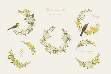 Set With Flower Wreaths And Birds.