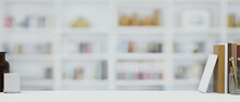 Free Space For Product Display Or Montage Of Design On White Table, Blur Home Library In Background