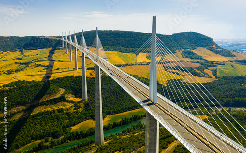 Millau, France - August 11, 2020: Millau Viaduct, cable-stayed road-bridge. Valley of the river Tarn