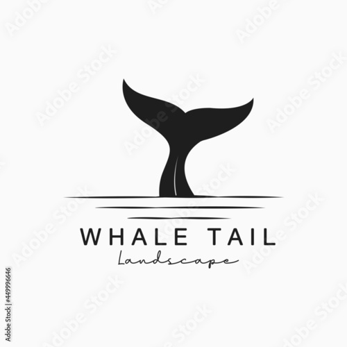 Fotografie, Obraz Whale tail logo vintage illustration symbol template design