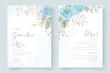 Invitation card design with soft blue floral ornament