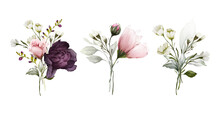 A Set Of Bouquets With Field Flowers For Congratulations In A Watercolor Style