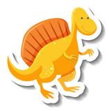 Fototapeta Dinusie - Cute yellow dinosaur cartoon character sticker