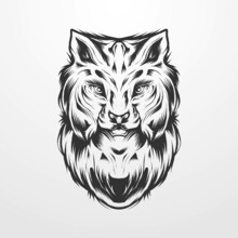 Lynx Head Vector Illustration In Vintage Monochrome Isolated