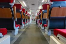 Empty Train Seats. No People Inside The Train Wagon.