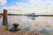 Excursion Boat Approaching The Harbor Of Zingst, Mecklenburg-Vorpommern, Germany
