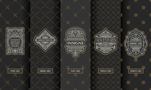 Vector Set Of Design Elements Labels, Icon, Logo, Frame, Luxury Packaging For The Product