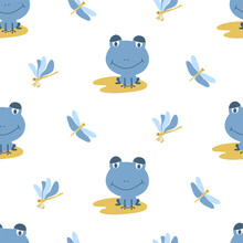 Seamless Pattern Of Blue Frogs On Yellow Leaves With Dragonflies On A White Background. Ideal For Baby Fabric, Home Decor, And Wrapping Paper.