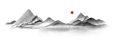 Watercolor Mountains In Fog Hand Drawn In Sumi-e Style In Traditional Japanese Painting On White Background. Natural Landscape, Tranquility, Zen. Black And White Illustration And Red Sun.
