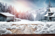 Fresh snow on a wooden table on a beautiful winter day with a landscape background