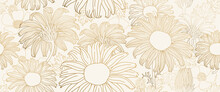 Luxury Lotus Background Vector. Golden Lotus Line Arts Design For Wall Arts, Fabric, Prints And Background Texture, Vector Illustration