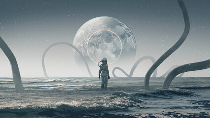astronaut standing in the strange sea and looking at the planet in the sky, digital art style, illustration painting