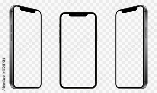 Realistic models smartphone with transparent screens. Smartphone mockup collection. Device front view. 3D mobile phone with shadow on transparent background - stock vector.