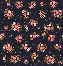 Cute Floral Pattern. Seamless Vector Pattern. Elegant Template For Fashion Prints. Small White, Rose And Orange Flowers. Dark Violet Background. Summer And Spring Motifs. Stock Vector.